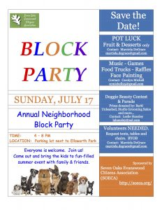Annual block party announcement 2016